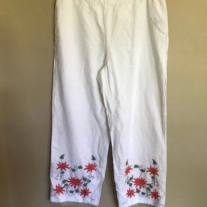 Soft Surroundings White Linen Embroidered Pants
